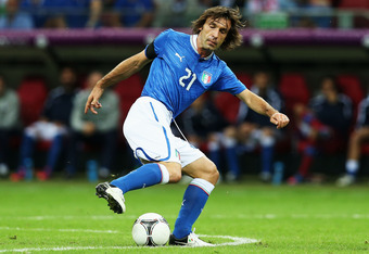 WARSAW, POLAND - JUNE 28:  Andrea Pirlo of Italy in action during the UEFA EURO 2012 semi final match between Germany and Italy at the National Stadium on June 28, 2012 in Warsaw, Poland.  (Photo by Alex Grimm/Getty Images)