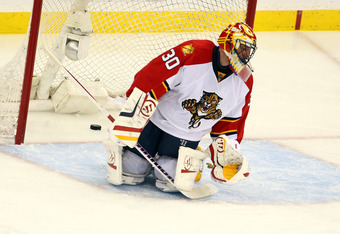 NEWARK, NJ - APRIL 24:  Scott Clemmensen #30 of the Florida Panthers reacts after he gave up the game-winning goal in overtime against Travis Zajac #19 of the New Jersey Devils in Game Six of the Eastern Conference Quarterfinals during the 2012 NHL Stanle