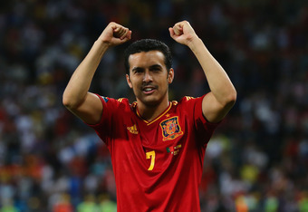 DONETSK, UKRAINE - JUNE 27: Pedro of Spain celebrates victory during the UEFA EURO 2012 semi final match between Portugal and Spain at Donbass Arena on June 27, 2012 in Donetsk, Ukraine.  (Photo by Martin Rose/Getty Images)