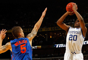 NEW ORLEANS, LA - MARCH 10:  Doron Lamb #20 of the Kentucky Wildcats shoots over Scottie Wilbekin #5 of the Florida Gators in the first half during the semifinals of the SEC Men's Basketball Tournament at New Orleans Arena on March 10, 2012 in New Orleans