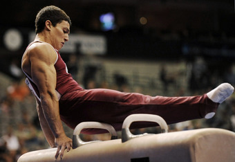 DALLAS - AUGUST 12:  David Sender competes on the pommel horse during day one of the Visa Gymnastics Championship Series at the American Airlines Arena on August 12, 2009 in Dallas, Texas. (Photo by Ronald Martinez/Getty Images)
