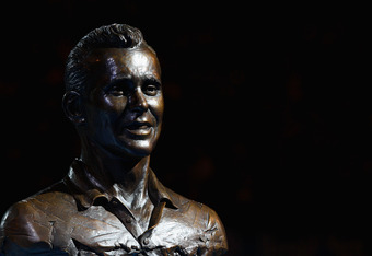 MELBOURNE, AUSTRALIA - JANUARY 26:  A statue of former Australian tennis player Ken Fletcher is on display after being inducted into the Australian Tennis Hall of Fame during the Australia Day presentation in Rod Laver Arena during day eleven of the 2012
