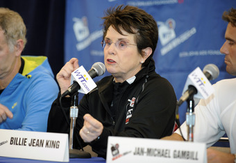 CLEVELAND, OH - OCTOBER 27: Billie Jean King seen during a press conference at the 19th annual WTT Smash Hits at the Public Hall on October 27, 2011 in Cleveland, Ohio. (Photo by Jason Miller/Getty Images)