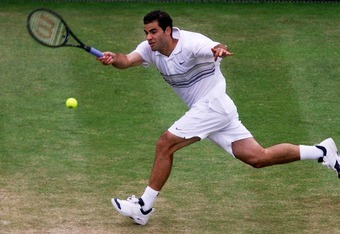 29 Jun 2001:  Pete Sampras of the USA on his way to victory over Sargis Sargsian of Armenia during the men's third round of The All England Lawn Tennis Championship at Wimbledon, London.  DIGITAL IMAGE Mandatory Credit: Gary M. Prior/ALLSPORT