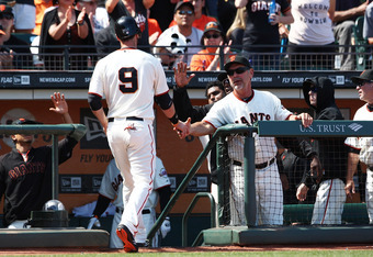 Brandon Belt scored the only Giants run of the game.