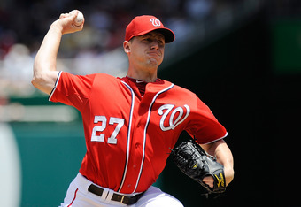 WASHINGTON, DC - JUNE 16:  Jordan Zimmermann #27 of the Washington Nationals throws a pitch against the New York Yankees at Nationals Park on June 16, 2012 in Washington, DC.  (Photo by Patrick McDermott/Getty Images)