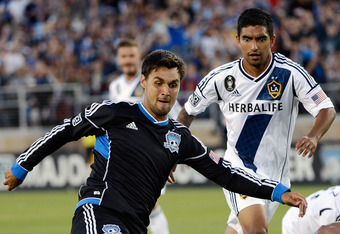PALO ALTO, CA - JUNE 30:  Chris Wondolowski #8 of the San Jose Earthquakes shoots on goal in the second half against the Los Angeles Galaxy at Stanford Stadium on June 30, 2012 in Palo Alto, California. The Earthquakes won the game 4-3. (Photo by Thearon