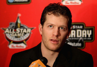 OTTAWA, ON - JANUARY 27:  Team Chara defenseman Ryan Suter of the Nashville Predators speaks with the press during the 2012 NHL All-Star Game Player Media Availability at the Westin Ottawa on January 27, 2012 in Ottawa, Ontario, Canada.  (Photo by Christi