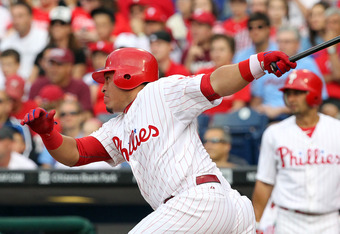 PHILADELPHIA - JUNE 25: Catcher Carlos Ruiz #51 of the Philadelphia Phillies bats during a game against the Pittsburgh Pirates at Citizens Bank Park on June 25, 2012 in Philadelphia, Pennsylvania. The Phillies won 8-3. (Photo by Hunter Martin/Getty Images