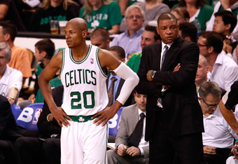 BOSTON, MA - JUNE 07:  (L-R) Ray Allen #20 and Doc Rivers of the Boston Celtics look on dejected against the Miami Heat in Game Six of the Eastern Conference Finals in the 2012 NBA Playoffs on June 7, 2012 at TD Garden in Boston, Massachusetts. NOTE TO US