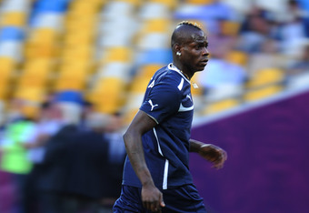 KIEV, UKRAINE - JUNE 30:  Mario Balotelli of Italy runs during a training session ahead of the UEFA EURO 2012 final match against Spain on June 30, 2012 in Kiev, Ukraine.  (Photo by Jasper Juinen/Getty Images)
