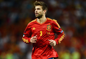 DONETSK, UKRAINE - JUNE 27: Gerard Pique of Spain in action during the UEFA EURO 2012 semi final match between Portugal and Spain at Donbass Arena on June 27, 2012 in Donetsk, Ukraine.  (Photo by Jasper Juinen/Getty Images)