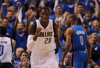 DALLAS, TX - MAY 05:  Ian Mahinmi #28 of the Dallas Mavericks celebrates after scoring against the Oklahoma City Thunder during Game Four of the Western Conference Quarterfinals in the 2012 NBA Playoffs at American Airlines Center on May 5, 2012 in Dallas