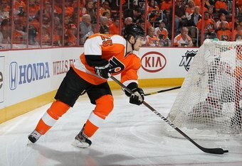 PHILADELPHIA, PA - APRIL 29:  Matt Carle #25 of the Philadelphia Flyers in action against the New Jersey Devils in Game One of the Eastern Conference Semifinals during the 2012 NHL Stanley Cup Playoffs at the Wells Fargo Center on April 29, 2012 in Philad