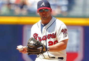 ATLANTA, GA - JUNE 17: Dan Uggla #26 of the Atlanta Braves throws to first during the interleague game against the Baltimore Orioles at Turner Field on June 17, 2012 in Atlanta, Georgia.  The Baltimore Orioles defeated the Atlanta Braves  2-0. (Photo by T