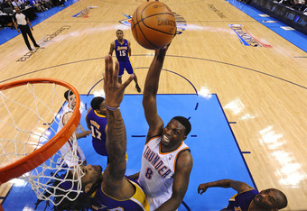 OKLAHOMA CITY, OK - MAY 14:  Nazr Mohammed #8 of the Oklahoma City Thunder shoots against the Los Angeles Lakers during Game One of the Western Conference Semifinals in the 2012 NBA Playoffs on May 14, 2012 at the Chesapeake Energy Arena in Oklahoma City,