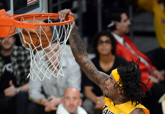 LOS ANGELES, CA - MAY 12:  Jordan Hill #27 of the Los Angeles Lakers goes up for a dunk in the first half against the Denver Nuggets in Game Seven of the Western Conference Quarterfinals in the 2012 NBA Playoffs on May 12, 2012 at Staples Center in Los An