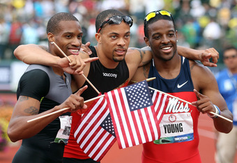 EUGENE, OR - JULY 01:  (L-R) Maurice Mitchell, Wallace Spearmon Jr and Isiah Young pose together after finishing the Men's 200 Meter Dash Final on day ten of the U.S. Olympic Track & Field Team Trials at the Hayward Field on July 1, 2012 in Eugene, Oregon