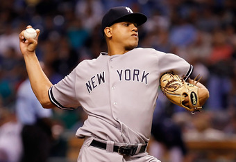 ST PETERSBURG, FL - SEPTEMBER 28:  Pitcher Dellin Betances #68 of the New York Yankees pitches against the Tampa Bay Rays during the game at Tropicana Field on September 28, 2011 in St. Petersburg, Florida.  (Photo by J. Meric/Getty Images)
