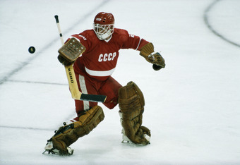 Vladislav Tretiak, goaltender for the Soviet Union in action against Sweden on 19 February 1984 at the XIV Olympic Winter Games in Sarajevo, Yugoslavia . (Photo by David Cannon/Getty Images)