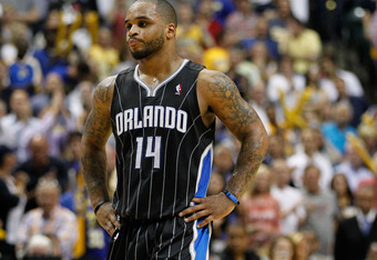 INDIANAPOLIS, IN - MAY 08: Jameer Nelson #14 of the Orlando Magic looks on late in the game while playing the Indiana Pacers in Game Five of the Eastern Conference Quarterfinals during the 2012 NBA Playoffs on May 8, 2012 at Bankers Life Fieldhouse in Ind