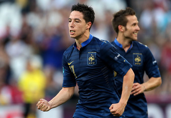 DONETSK, UKRAINE - JUNE 11:  Samir Nasri of France celebrates scoring their first goal during the UEFA EURO 2012 group D match between France and England at Donbass Arena on June 11, 2012 in Donetsk, Ukraine.  (Photo by Scott Heavey/Getty Images)