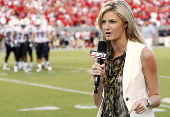 RALEIGH, NC - SEPTEMBER 3: ESPN sportscaster Erin Andrews reports from the sidelines prior to the game between the South Carolina Gamecocks and the North Carolina State Wolfpack at Carter-Finley Stadium on September 3, 2009 in Raleigh, North Carolina. (Ph