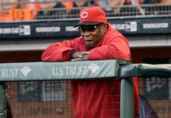 SAN FRANCISCO, CA - JUNE 29:  Manager Dusty Baker #12 of the Cincinnati Reds looks on from the top of the dugout in the first inning against the San Francisco Giants at AT&T Park on June 29, 2012 in San Francisco, California.  (Photo by Thearon W. Henders