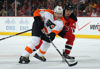 NEWARK, NJ - MAY 06: Jaromir Jagr #68 of the Philadelphia Flyers skates against the New Jersey Devils in Game Four of the Eastern Conference Semifinals during the 2012 NHL Stanley Cup Playoffs at Prudential Center on May 6, 2012 in Newark, New Jersey. The