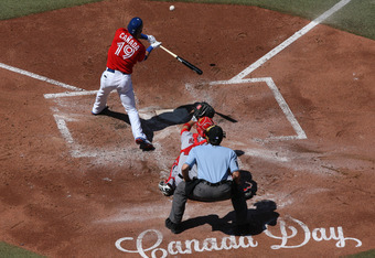 TORONTO, CANADA - JULY 1: Jose Bautista #19 of the Toronto Blue Jays bats during MLB game action against the Los Angeles Angels of Anaheim on July 1, 2012 at Rogers Centre in Toronto, Ontario, Canada. (Photo by Tom Szczerbowski/Getty Images)