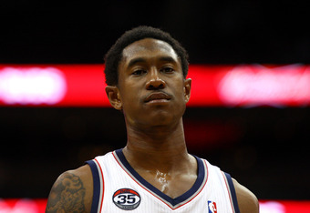 NEWARK, NJ - MARCH 28:  MarShon Brooks #9 of the New Jersey Nets looks on against the Indiana Pacers at Prudential Center on March 28, 2012 in Newark, New Jersey. NOTE TO USER: User expressly acknowledges and agrees that, by downloading and or using this