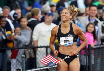 EUGENE, OR - JUNE 23:  Lolo Jones reacts after qualifying for 2012 Olympics after coming in third in the women's 100 meter hurdles final during Day Two of the 2012 U.S. Olympic Track & Field Team Trials at Hayward Field on June 23, 2012 in Eugene, Oregon.