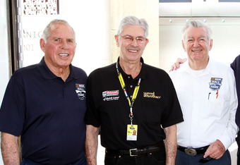 DAYTONA BEACH, FL - FEBRUARY 18:  (L-R) Hall of Famers David Pearson, Leonard Wood, Bobby Allison, Bud Moore, and Ned Jarrett pose in the garage area prior to practice for the NASCAR Sprint Cup Series Daytona 500 at Daytona International Speedway on Febru