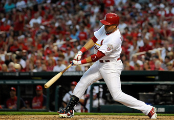 ST. LOUIS, MO - JUNE 9: Carlos Beltran #3 of the St. Louis Cardinals hits a double against the Cleveland Indians at Busch Stadium on June 9, 2012 in St. Louis, Missouri. (Photo by Jeff Curry/Getty Images)