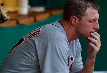 PITTSBURGH, PA - JUNE 23:  Max Scherzer #37 of the Detroit Tigers sits in the dugout after pitching only days after hit brother died against the Pittsburgh Pirates during the game on June 23, 2012 at PNC Park in Pittsburgh, Pennsylvania.  (Photo by Jared
