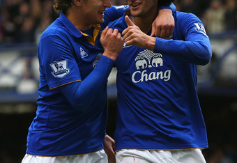 LIVERPOOL, ENGLAND - APRIL 28:  Marouane Fellaini of Everton celebrates scoring his goal with Nikica Jelavic during the Barclays Premier League match between Everton and Fulham at Goodison Park on April 28, 2012 in Liverpool, England.  (Photo by Alex Live
