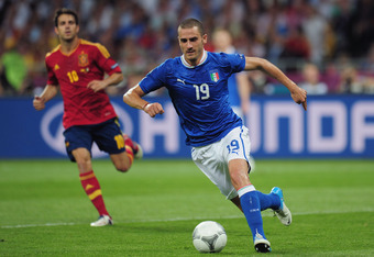 KIEV, UKRAINE - JULY 01:  Leonardo Bonucci of Italy  with the ball during the UEFA EURO 2012 final match between Spain and Italy at the Olympic Stadium on July 1, 2012 in Kiev, Ukraine.  (Photo by Shaun Botterill/Getty Images)