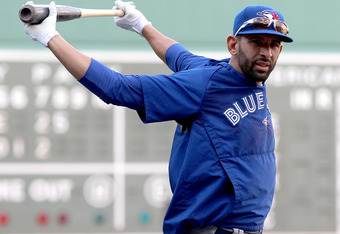 BOSTON, MA - JUNE 25: Jose Bautista #19 of the Toronto Blue Jays takes batting practice before a game with the Boston Red Sox at Fenway Park June 25, 2012  in Boston, Massachusetts.  (Photo by Jim Rogash/Getty Images)
