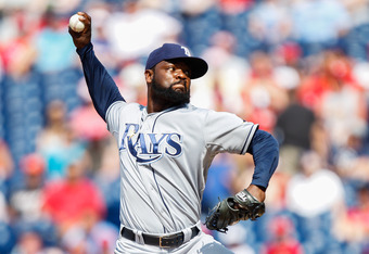 PHILADELPHIA, PA - JUNE 24: Closer Fernando Rodney #56 of the Tampa Bay Rays throws a pitch in the ninth inning of the first game of an interleague doubleheader against the Philadelphia Phillies at Citizens Bank Park on June 24, 2012 in Philadelphia, Penn