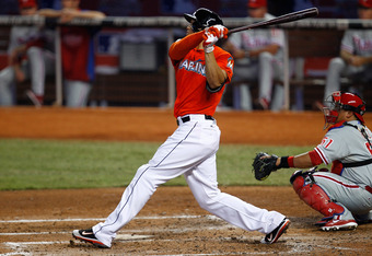 MIAMI, FL - JULY 01: Giancarlo Stanton #27 of the Miami Marlins hits a home run in the third inning during a game against the Philadelphia Phillies at Marlins Park on July 1, 2012 in Miami, Florida.  (Photo by Sarah Glenn/Getty Images)