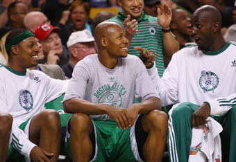 BOSTON - DECEMBER 07:   Paul Pierce #34, Ray Allen #20 and Kevin Garnett #5 of the Boston Celtics tries have fun on the bench in the fourth quarter against the Toronto Raptors on December 7, 2007 at the TD Banknorth Garden in Boston, Massachusetts. The Bo