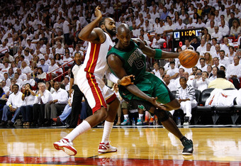 MIAMI, FL - MAY 30:  Kevin Garnett #5 of the Boston Celtics drives in the first quarter against Ronny Turiaf #21 of the Miami Heat in Game Two of the Eastern Conference Finals in the 2012 NBA Playoffs on May 30, 2012 at American Airlines Arena in Miami, F