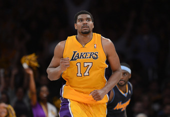 LOS ANGELES, CA - MAY 12:  Andrew Bynum #17 of the Los Angeles Lakers reacts in the fourth quarter while taking on the Denver Nuggets in Game Seven of the Western Conference Quarterfinals in the 2012 NBA Playoffs on May 12, 2012 at Staples Center in Los A