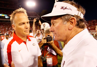 Georgia head coach Mark Richt (left) with Steve Spurrier (right)