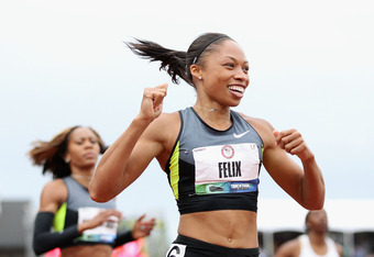 EUGENE, OR - JUNE 30:  Allyson Felix celebrates after winning the Women's 200 Meter Dash Final on day nine of the U.S. Olympic Track & Field Team Trials at the Hayward Field on June 30, 2012 in Eugene, Oregon.  (Photo by Christian Petersen/Getty Images)