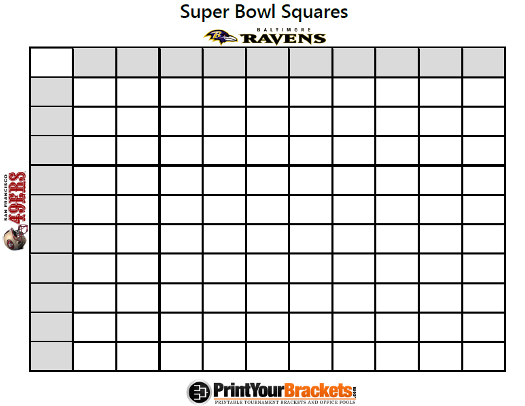 printable super bowl block pool template - super bowl box game last second guide to setting up pool