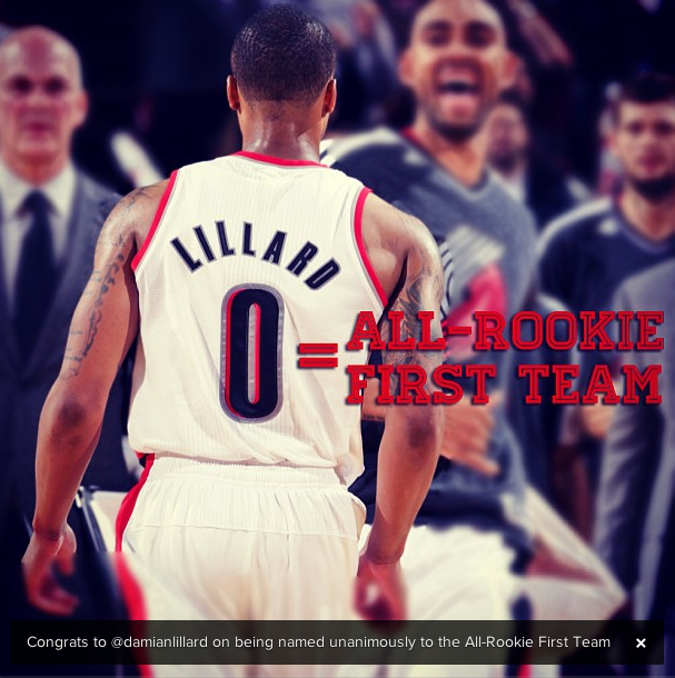 Portland Blazers Roster 2012: Damian Lillard Highlights 2012-13 NBA All-Rookie Team
