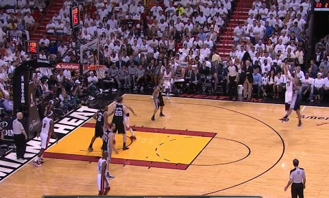 Mike Miller hits the triple for the first points of the second quarter.