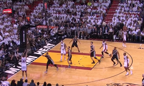 Dwyane Wade hits Shane Battier for the corner three to start the second quarter.