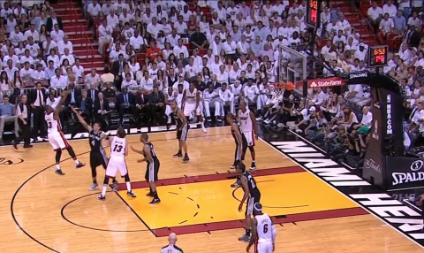 Dwyane Wade hits the pull-up jumper and it's a three-point game.
